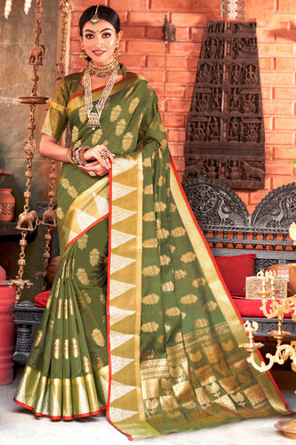 Bhelpuri Green Cotton Handloom Woven Traditional Saree with Blouse Piece