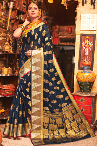 Bhelpuri Navy Blue Cotton Handloom Woven Traditional Saree with Blouse Piece