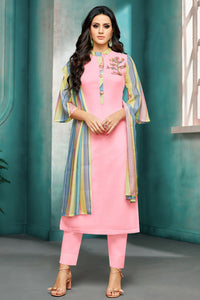 Bhelpuri Light Pink Masline Silk  Designer Casual Wear Salwar Suit with Dupatta
