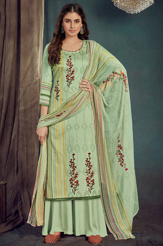 Bhelpuri Sea Green Pure Zam Cotton Sea Green Designer Pure Zam Cotton Digital Printed Plazzo Suit