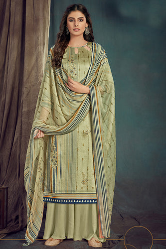 Bhelpuri Olive Green Pure Zam Cotton Olive Green Designer Pure Zam Cotton Digital Printed Plazzo Suit