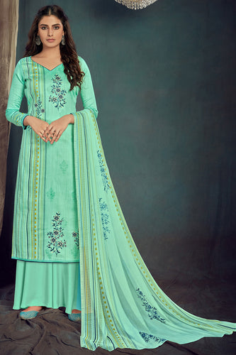 Bhelpuri Aqua Green Pure Zam Cotton Aqua Green Designer Pure Zam Cotton Digital Printed Plazzo Suit