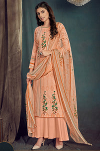 Bhelpuri Peach Pure Zam Cotton Peach Designer Pure Zam Cotton Digital Printed Plazzo Suit