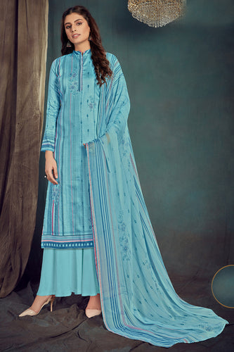 Bhelpuri Sky Blue Pure Zam Cotton Sky Blue Designer Pure Zam Cotton Digital Printed Plazzo Suit