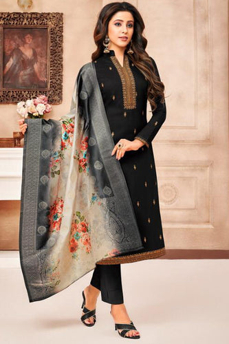 Bhelpuri Black Muslin Silk Embroidred & Diamond Work Semi Stitched Salwar Suit