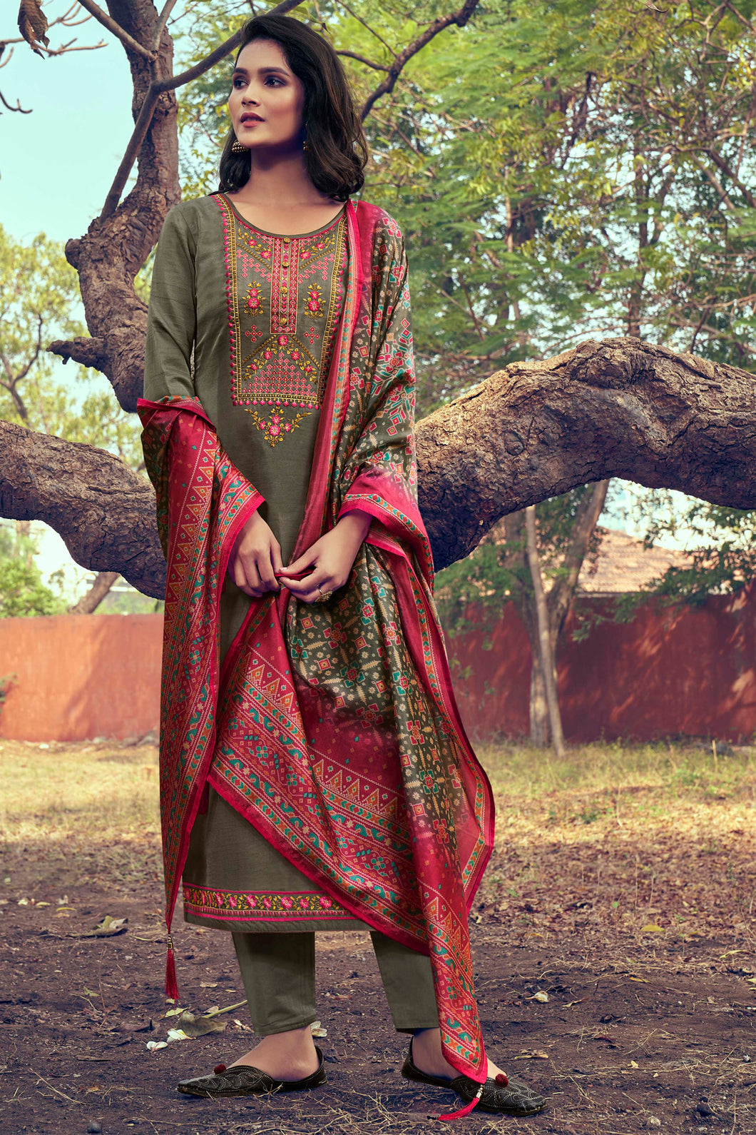 Bhelpuri Khakhi Green Mini Silk Heavy Embroidred Designer Salwar Suit with Dupatta