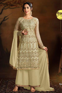 Bhelpuri Light Yellow Butterfly Net Light Yellow Designer Party Wear Butterfly Net Plazzo Suit