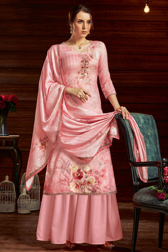 Bhelpuri Light Pink Pure Zam Cotton Light Pink Latest Designer Party Wear Pure Zam Cotton Plazzo Suit