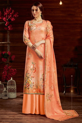 Bhelpuri Orange Pure Zam Cotton Orange Latest Designer Party Wear Pure Zam Cotton Plazzo Suit