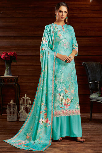 Bhelpuri Sky Blue Pure Zam Cotton Sky Blue Latest Designer Party Wear Pure Zam Cotton Plazzo Suit