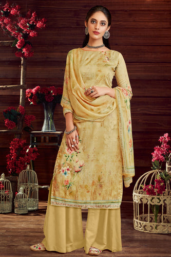 Bhelpuri Cream Pure Zam Cotton Cream Latest Designer Party Wear Pure Zam Cotton Plazzo Suit