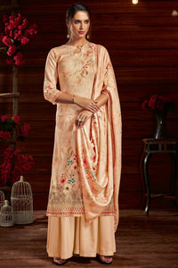 Bhelpuri Peach Pure Zam Cotton Peach Latest Designer Party Wear Pure Zam Cotton Plazzo Suit