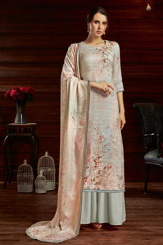 Bhelpuri Grey Pure Zam Cotton Grey Latest Designer Party Wear Pure Zam Cotton Plazzo Suit