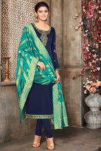 Load image into Gallery viewer, Bhelpuri Blue Satin Georgette Designer Party Wear Salwar Suit with Dupatta