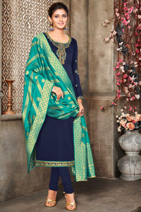 Bhelpuri Blue Satin Georgette Designer Party Wear Salwar Suit with Dupatta
