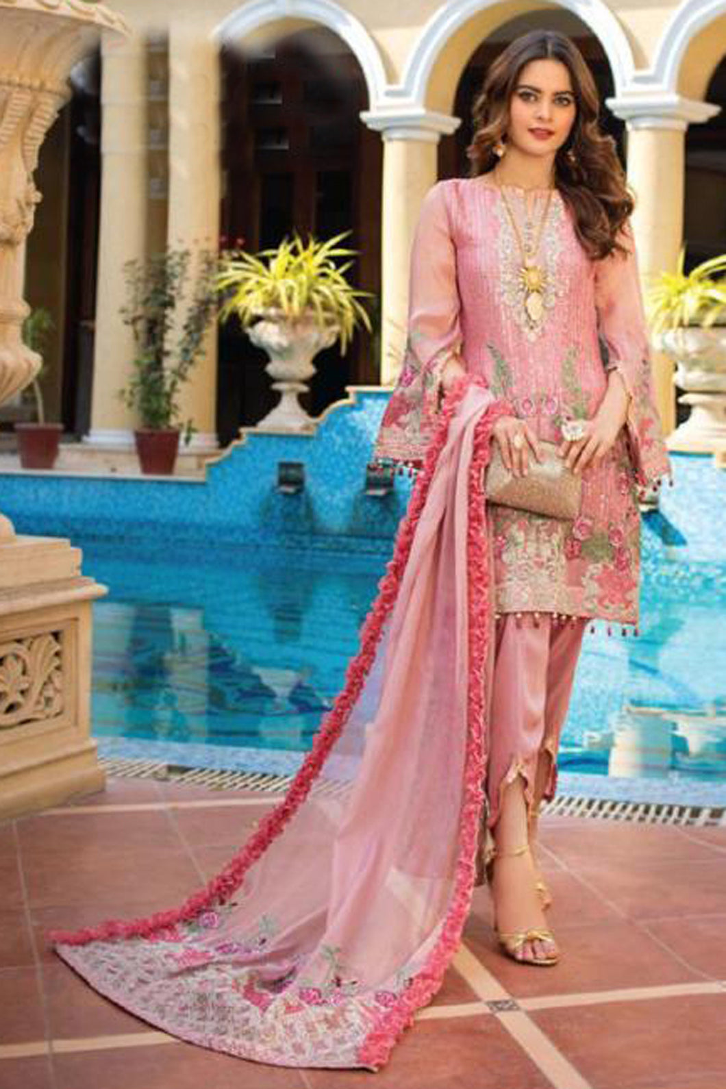 Bhelpuri Pink Fox Georgette  Latest Designer Embroidred Party Wear Pakistani Suit