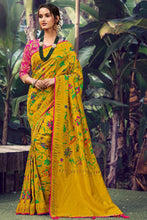 Load image into Gallery viewer, Bhelpuri Musterd Silk Woven Saree With Blouse Piece