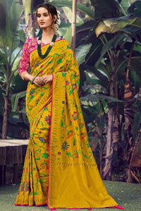 Bhelpuri Musterd Silk Woven Saree With Blouse Piece