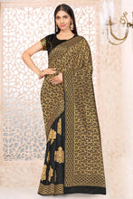Load image into Gallery viewer, Bhelpuri Black Banarasi Silk Woven Saree With Blouse Piece