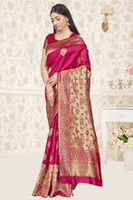 Load image into Gallery viewer, Bhelpuri Pink Banarasi Silk Woven Saree With Blouse Piece