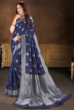 Load image into Gallery viewer, Bhelpuri Blue Banarasi Silk Jacquard Work Traditional Saree with Blouse Piece