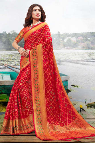 Bhelpuri Red Jacquard Silk Woven Saree with Blouse Piece