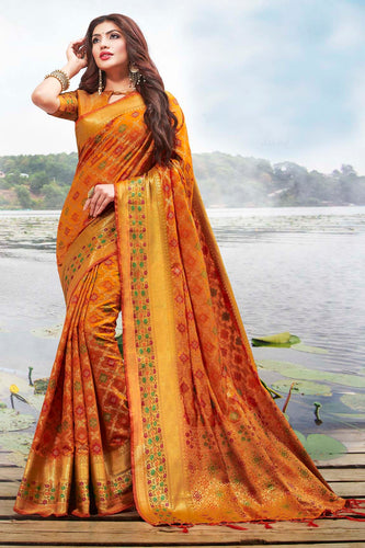 Bhelpuri Orange Jacquard Silk Woven Saree with Blouse Piece