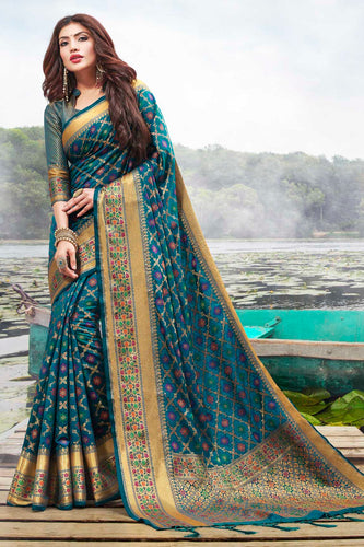 Bhelpuri Teal Blue Jacquard Silk Woven Saree with Blouse Piece