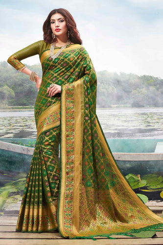 Bhelpuri Green Jacquard Silk Woven Saree with Blouse Piece