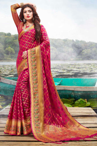 Bhelpuri Rani Pink Jacquard Silk Woven Saree with Blouse Piece