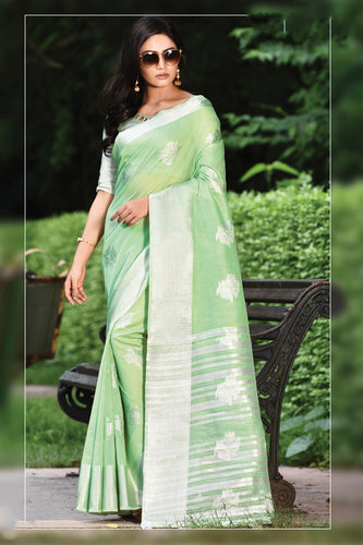 Bhelpuri Light Green Linen Cotton Weaving/Lining Work Traditional Saree with Blouse Piece