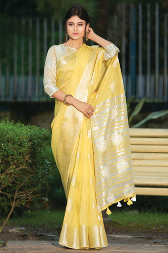 Bhelpuri Yellow Linen Cotton Weaving/Lining Work Traditional Saree with Blouse Piece