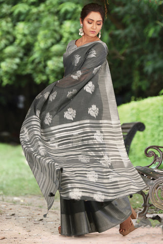 Bhelpuri Grey Linen Cotton Weaving/Lining Work Traditional Saree with Blouse Piece