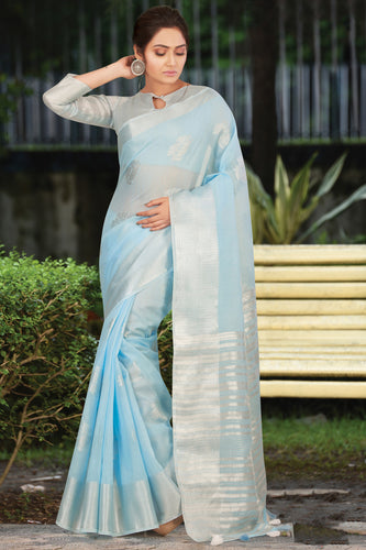 Bhelpuri Sky Blue Linen Cotton Weaving/Lining Work Traditional Saree with Blouse Piece