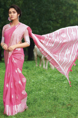 Bhelpuri Pink Linen Cotton Weaving/Lining Work Traditional Saree with Blouse Piece