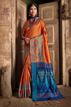 Load image into Gallery viewer, Bhelpuri Orange & Blue Silk Woven Traditional Saree with Blouse Piece