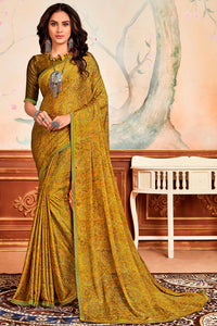 Bhelpuri Multi Silky Chiffon Print Work Lace Border Traditional Saree with Blouse Piece