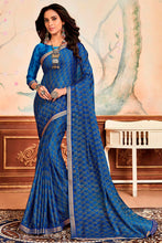 Load image into Gallery viewer, Bhelpuri Blue Silky Chiffon Print Work Lace Border Traditional Saree with Blouse Piece