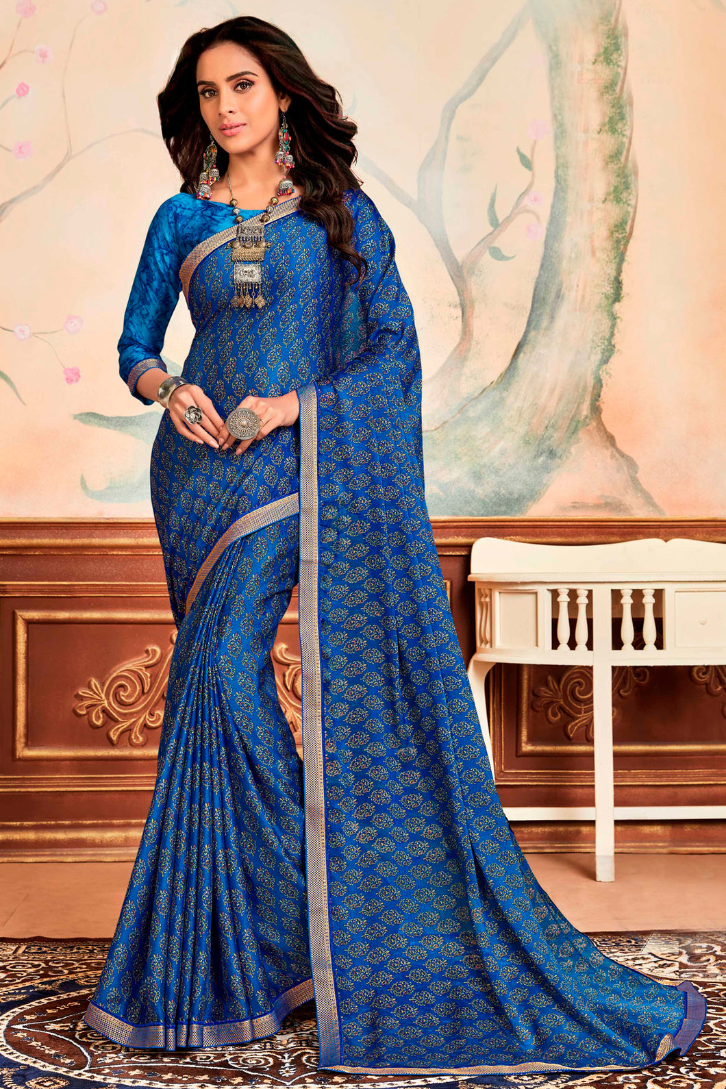 Bhelpuri Blue Silky Chiffon Print Work Lace Border Traditional Saree with Blouse Piece
