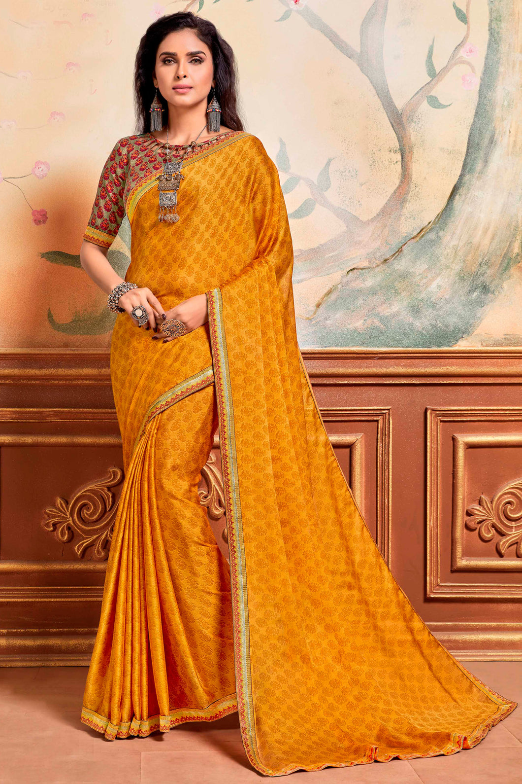 Bhelpuri Yellow Silky Chiffon Print Work Lace Border Traditional Saree with Blouse Piece