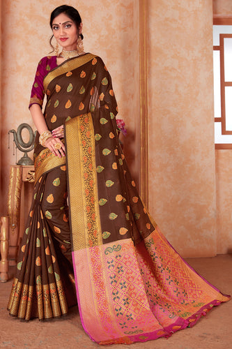 Bhelpuri Brown Silk Weaving & Rich Pallu Woven Traditional Saree with Blouse Piece
