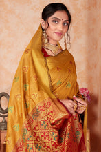 Load image into Gallery viewer, Bhelpuri Mustard Silk Weaving & Rich Pallu Woven Traditional Saree with Blouse Piece