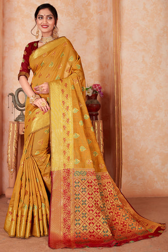 Bhelpuri Mustard Silk Weaving & Rich Pallu Woven Traditional Saree with Blouse Piece