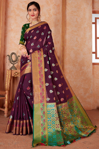 Bhelpuri Purple Silk Weaving & Rich Pallu Woven Traditional Saree with Blouse Piece