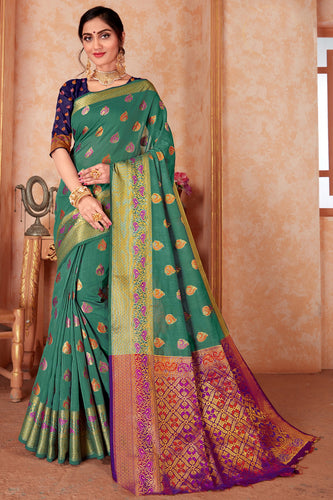 Bhelpuri Green Silk Weaving & Rich Pallu Woven Traditional Saree with Blouse Piece