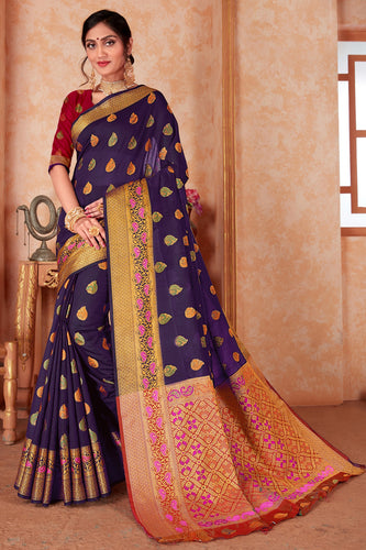 Bhelpuri Dark Blue Silk Weaving & Rich Pallu Woven Traditional Saree with Blouse Piece