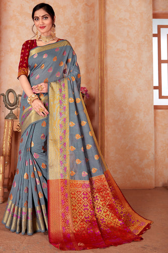 Bhelpuri Grey Silk Weaving & Rich Pallu Woven Traditional Saree with Blouse Piece