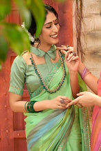 Load image into Gallery viewer, Bhelpuri Green Chiffon Foil Print Traditional Saree with Blouse Piece