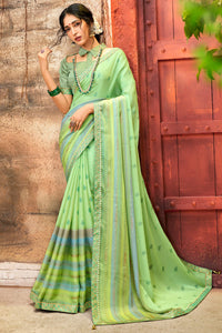 Bhelpuri Green Chiffon Foil Print Traditional Saree with Blouse Piece
