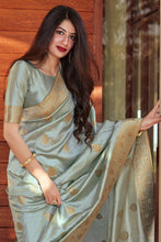 Load image into Gallery viewer, Bhelpuri Silver+Sky Blue Silk Woven Traditional Saree with Blouse Piece